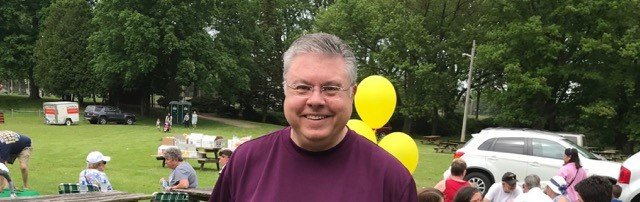 Fr. Gary is all smiles at the parish picnic.